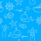 Sea And Holiday Doodles Seamless Pattern Royalty Free Stock Photo