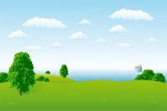 Sea horizon. With hills and ship royalty free illustration