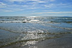 Sea and the horizon. Sunshine and blue sky over the mediterranean sea Stock Images