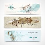 Sea horizontal nautical design banners set Stock Photos
