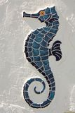 Sea Horse. Blue ceramic tile sea horse with a yellow eye on a stucco wall royalty free stock photography