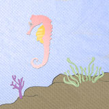 Sea horse cartoon  from tissue papercraft Royalty Free Stock Photos