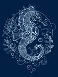 Sea horse coloring book for adults vector Royalty Free Stock Photo