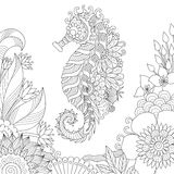 Sea horse coloring book page Royalty Free Stock Photo