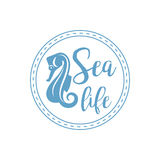 Sea horse lettering design Royalty Free Stock Photography