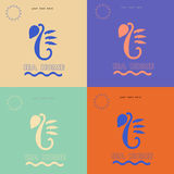Sea horse logo on different backgrounds. Stock Photography