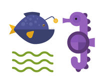 Sea horse and maline life animal vector illustration. Royalty Free Stock Images