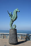 The Sea Horse Puerto Vallarta Mexico. Statue of The Sea Horse stands under a clear blue sky on El Malecon in Puerto Vallarta Mexico Stock Photo