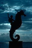 Sea Horse and rider in the clouds Royalty Free Stock Images