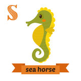 Sea horse. S letter. Cute children animal alphabet in vector. Funny cartoon animals. Vector illustration royalty free illustration