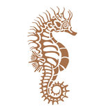 Sea Horse. Seahorse, made in one color under the stencil can decorate your plaster imprint of antiquity Stock Photo