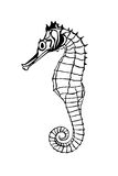 Sea horse silhouette isolate Royalty Free Stock Photos