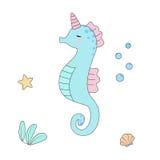 Sea horse unicorn isolated vector illustration Stock Photography