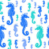 Sea Horses colourful seamless  pattern. Realistic engraved style of Sea Horses on white background Stock Photo