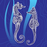 Sea horses. In decorative style. Vector illustration Royalty Free Stock Images