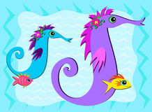 Sea Horses and Fish Share a Moment Royalty Free Stock Images