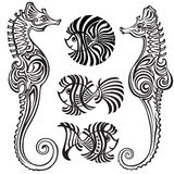 Sea horses and fishes. In decorative style Royalty Free Stock Image