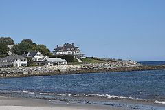 By the sea. House by the coast in new england Stock Photography
