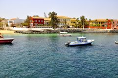 Sea and houses on the Island of Goree, Senegal Stock Photo