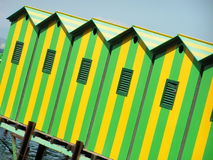 Sea huts. Colored sea huts on a beach Royalty Free Stock Images
