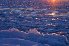 Sea of Ice. St Lawrence River, covered with ice, photographed at sunset stock photos
