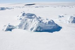Sea ice on Antarctica. Aerial view of the sea ice in the Weddell Sea, Antarctica Stock Image