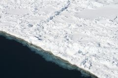 Sea ice on Antarctica. Aerial view of the sea ice in the Weddell Sea, Antarctica Royalty Free Stock Image