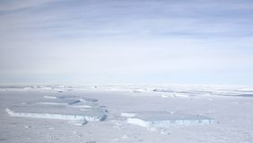 Sea ice on Antarctica. Aerial view of the sea ice in the Weddell Sea, Antarctica Royalty Free Stock Photo