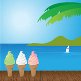 Sea and ice cream. Vector illustration Royalty Free Stock Images