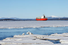 Sea ice is destroyed in the spring Royalty Free Stock Image