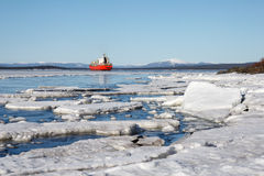 Sea ice is destroyed in the spring Stock Photography