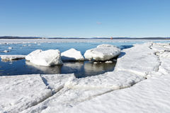 Sea ice is destroyed in the spring Royalty Free Stock Images