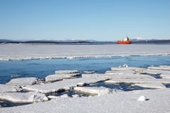 Sea ice is destroyed in the spring. White sea, Russia Royalty Free Stock Photo