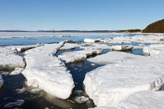 Sea ice is destroyed in the spring. White sea, Russia Stock Photo