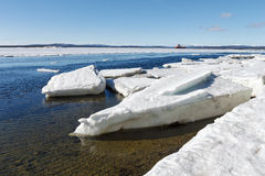 Sea ice is destroyed in the spring. White sea, Russia Stock Photos