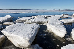 Sea ice is destroyed in the spring. White sea, Russia Royalty Free Stock Photos