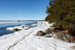 Sea ice is destroyed in the spring. White sea, Russia Stock Photography