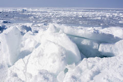 Sea ice in the far north. Wild lifeless desert Royalty Free Stock Images