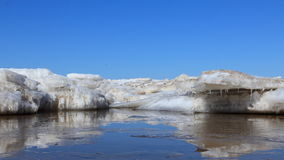 On the sea ice melts. Spring came and began to melt on the sea ice Stock Images