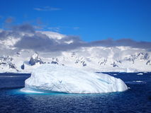 Sea and Ice near mountains off western antarctic peninsula Royalty Free Stock Images