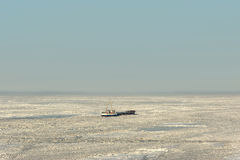 Sea ice stranded ship Royalty Free Stock Images