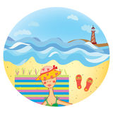 Sea icon with girl on the beach Royalty Free Stock Image