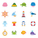 Sea icon set Royalty Free Stock Images