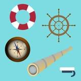 Sea icon set spyglass, compass, sailors cap, lifebuoy, wheel. vector illustration Stock Photo