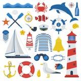 Sea Icon Set. Sea travel elements collection. Nautical vector icon set. Marine adventure equipment. Captain cap, lighthouse, dolphin, sailing ship, anchor Stock Photos