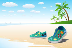Sea icon on shoe, travel concept Stock Photography