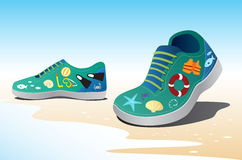 Sea icon on shoe, travel concept Stock Photos