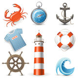 Sea icons. Highly detailed sea icons set Stock Images