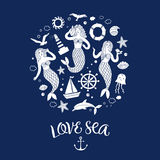 Sea icons cartoon set with lovely mermaids. Ship, shell, lighthouse and other.Including decorative title Stock Photo