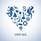 Sea icons cartoon set Royalty Free Stock Photography